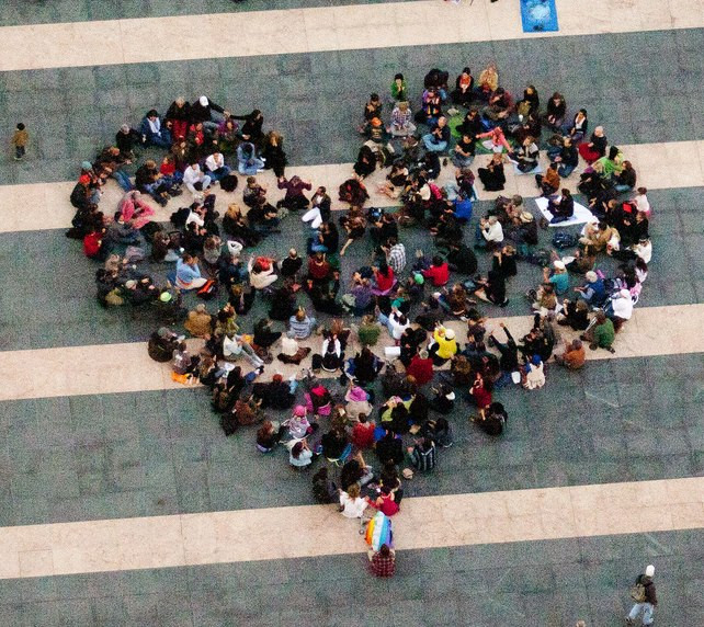 Aerial shot of the first San Francisco BeThePeace event in 2012. I am in the upper right corner.