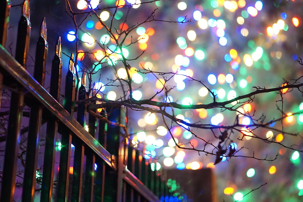 Bokeh rainbow Christmas lights