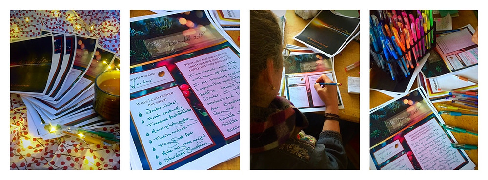 Filling out the Holy Nights guided journal