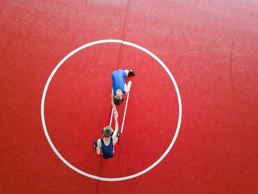 Aerial View of Wrestling Match