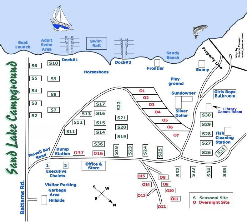 Camp Map - Sand Lake Campground and Cott