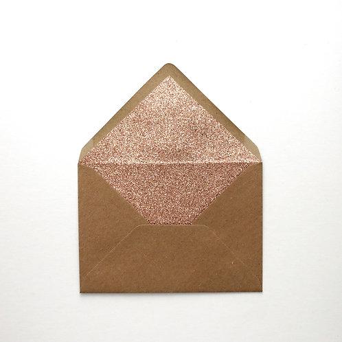 Rose Gold Glitter Lined Envelopes - Pack of 6