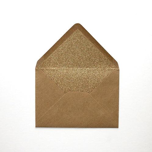 Gold Glitter Lined Envelopes - Pack of 6