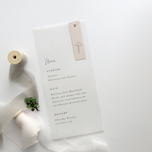 Sweetheart Vellum Menus & Place Cards