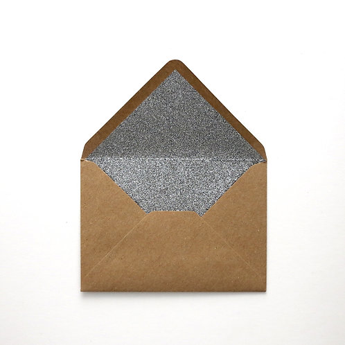 Silver Glitter Lined Envelopes - Pack of 6