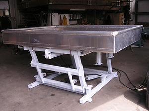 Our Sorting Tables ARE hydraulicAlly driven.  Built with a strong galvanized frame and aluminum table, these sorting tables are built to be strong, sturdy, and reliable.  They designed to withstand adverse conditions in the Bering Sea.
