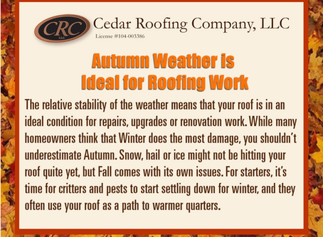 Autumn is Ideal for Roofing Work