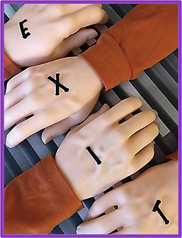 escape room puzzle idea using hand stamps