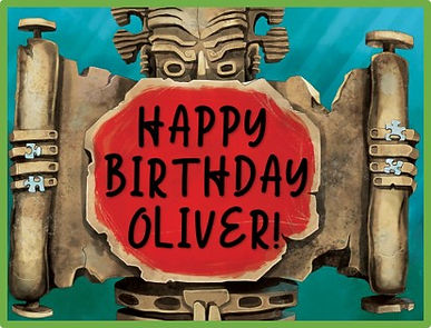 ancient statue says happy birthday oliver