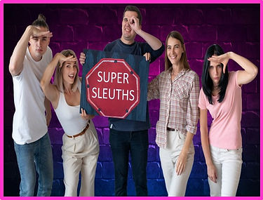 adults posing at escape room party with sign