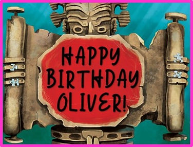 statue that says happy birthday oliver