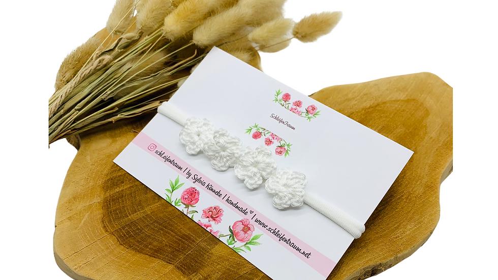 Haarband mit Blüten gehäkelt weiß