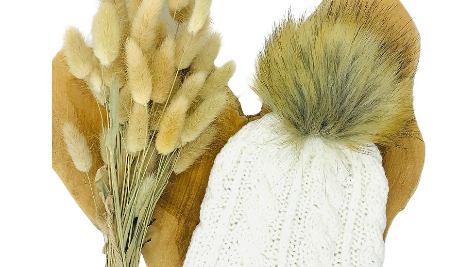 Mütze Zopfmuster Wolle mit Bommel