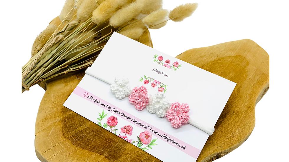Haarband mit Blüten gehäkelt weiß/rosa