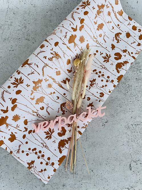 Geschenkpapier  50x300cm Kraftpapier Blumen braun Gold