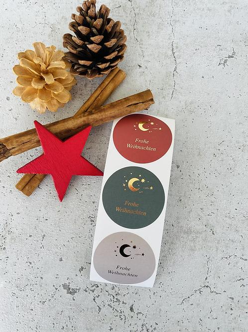 Sticker •Frohe Weihnachten Mond gold• 10 Stk.