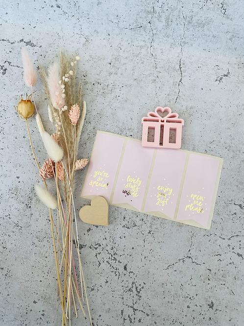 Sticker •Rosa mit Golddruck• 10 Stk.