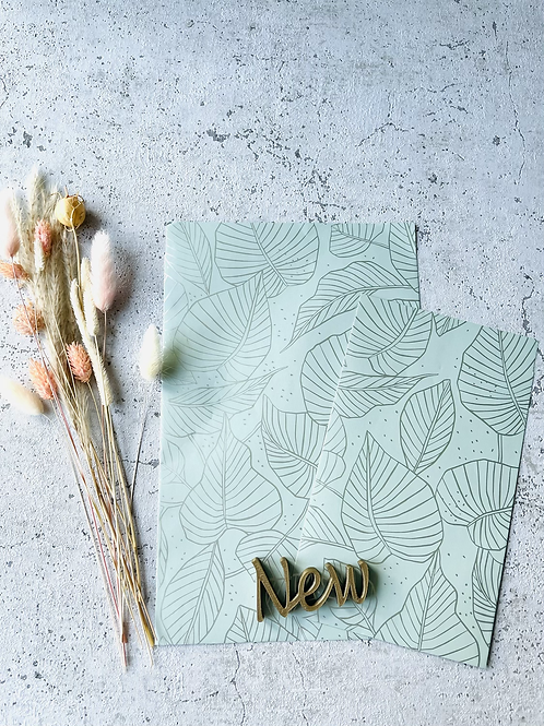 Papier Taschen Grün•Gold Blätter 10 Stk
