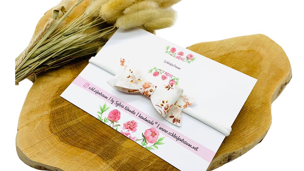 Haarband mit Schleife Blümchen altrosa