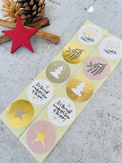 Sticker •happy christmas 2021 gold• 10 Stk. Mix