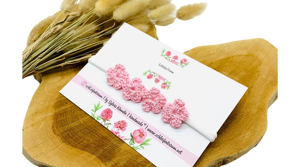 Haarband mit Blüten gehäkelt rosa