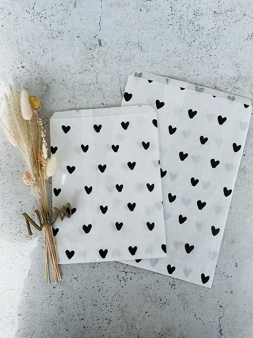 Papier Taschen  •Herzchen schwarz• 10 Stk
