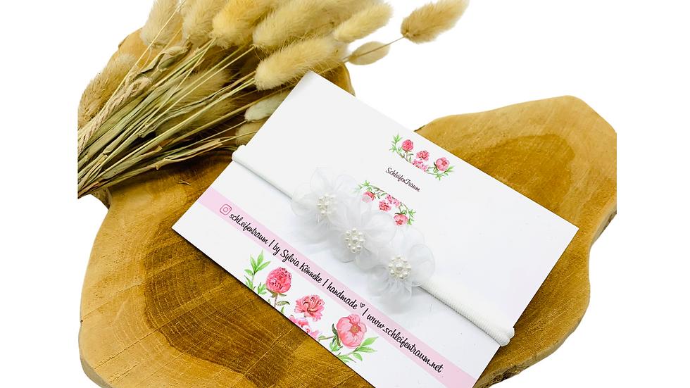 Haarband mit Blüten Organza weiß Taufhaarband