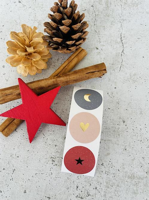 Sticker •Stern Herz Mond gold• 10 Stk.
