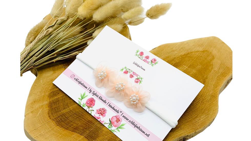 Haarband mit Blüten Organza rose Taufhaarband