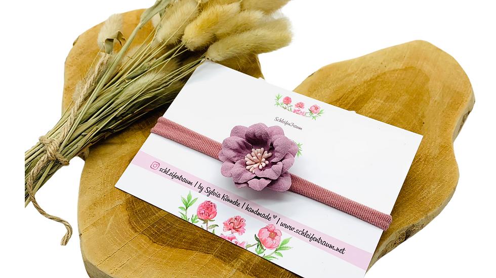 Haarband mit Blüte altrosa
