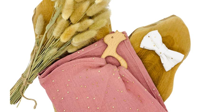 Kuscheltuch mit/ohne Greifling Musselin rosa Goldpunkte