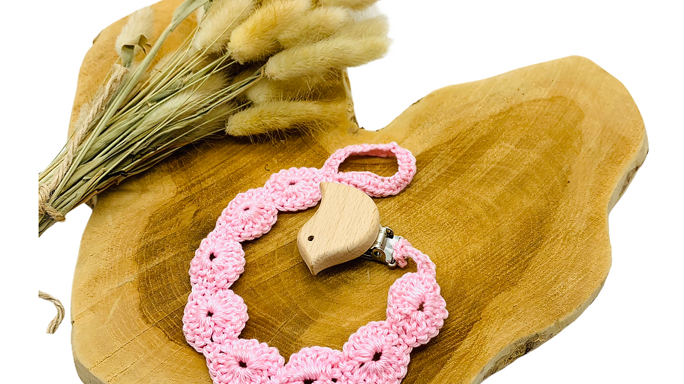 Schnullerkette gehäkelt rosa