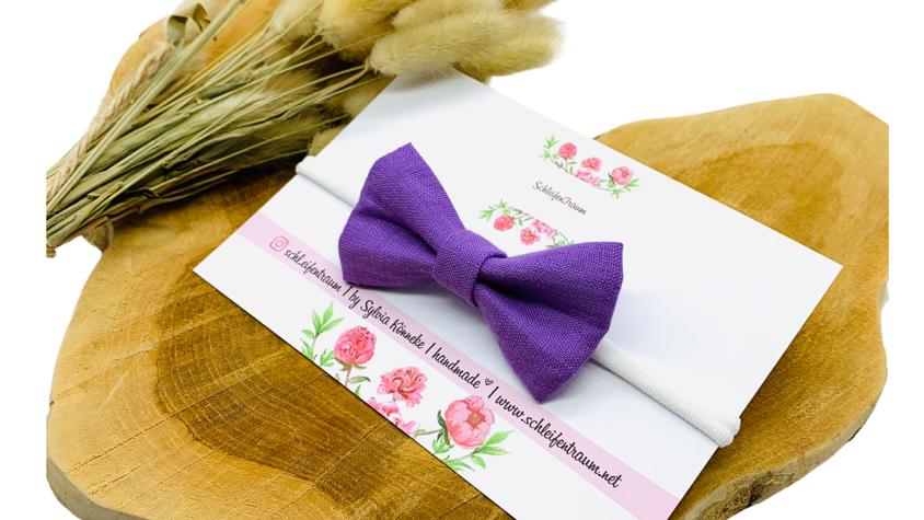 Haarband mit Schleife Leinen lila