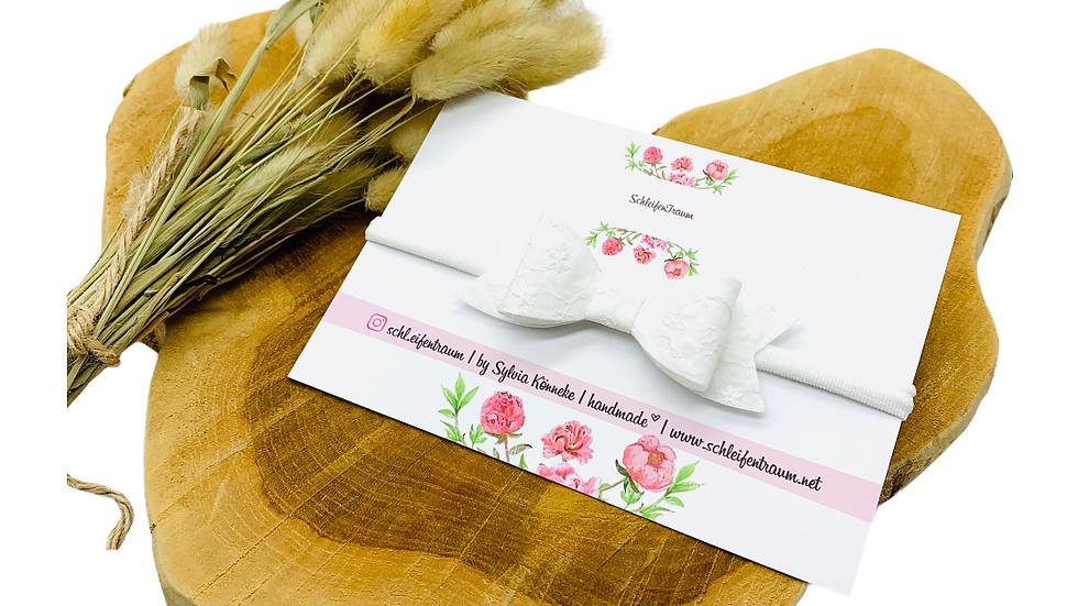 Haarband mit Schleife weiß Stickerei