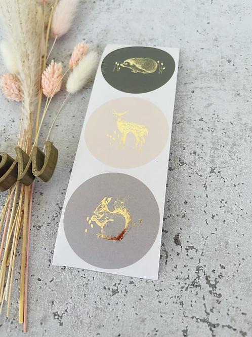 Sticker •mit Goldmetallic Waldtiere• 10 Stk.