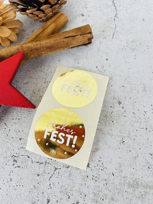 Sticker •Frohes Fest gold• 10 Stk.