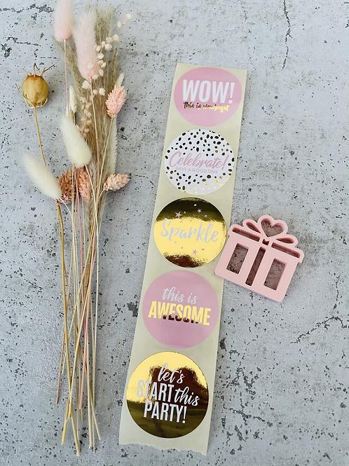 Sticker WOW gold /rosa
