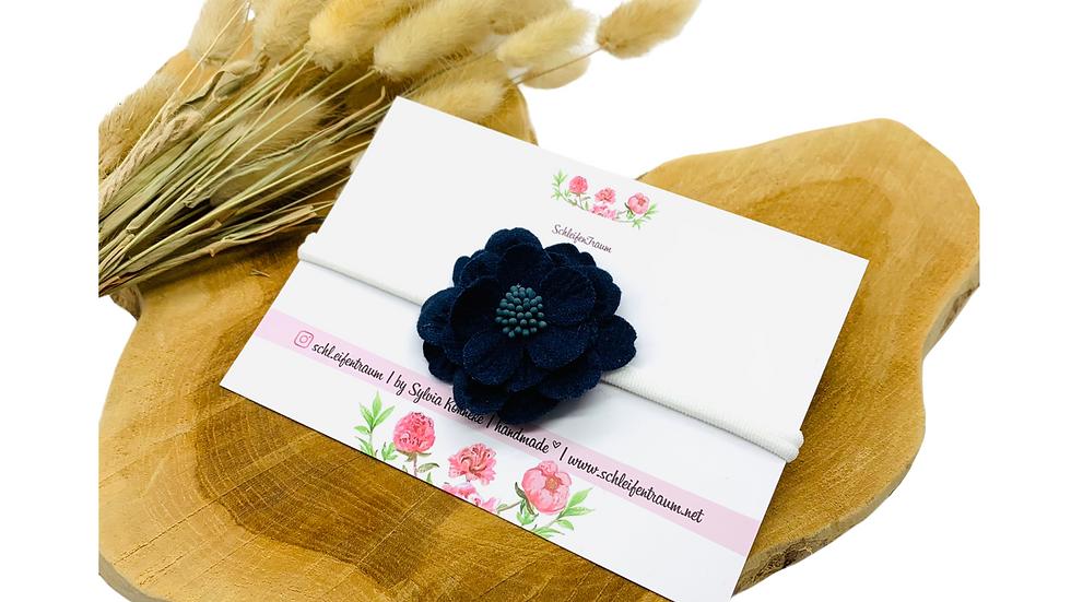 Haarband mit 3 D Blüte dunkelblau