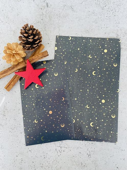 Papier Taschen  •Moon and Stars gold• 10 Stk