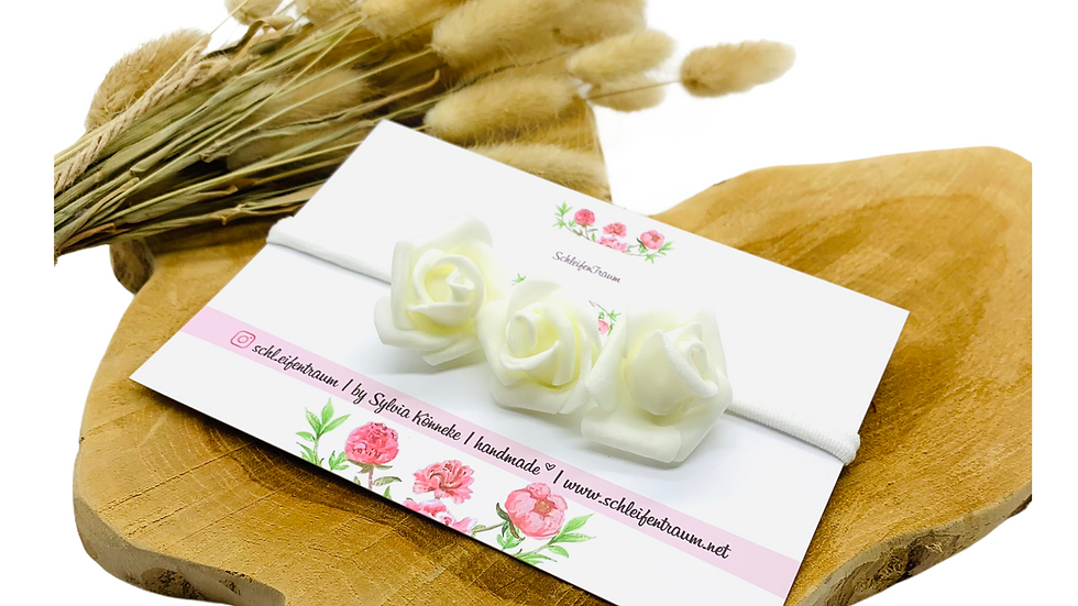 Haarband mit Blüten creme Taufhaarband