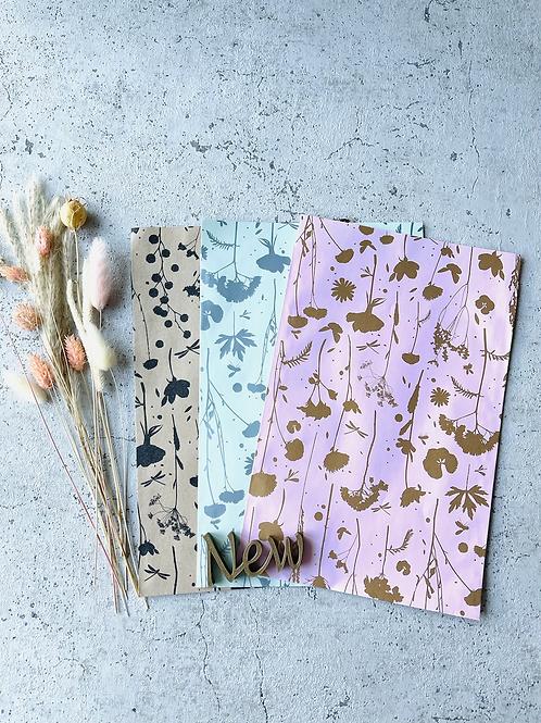 Papier Taschen Blumen Gold
