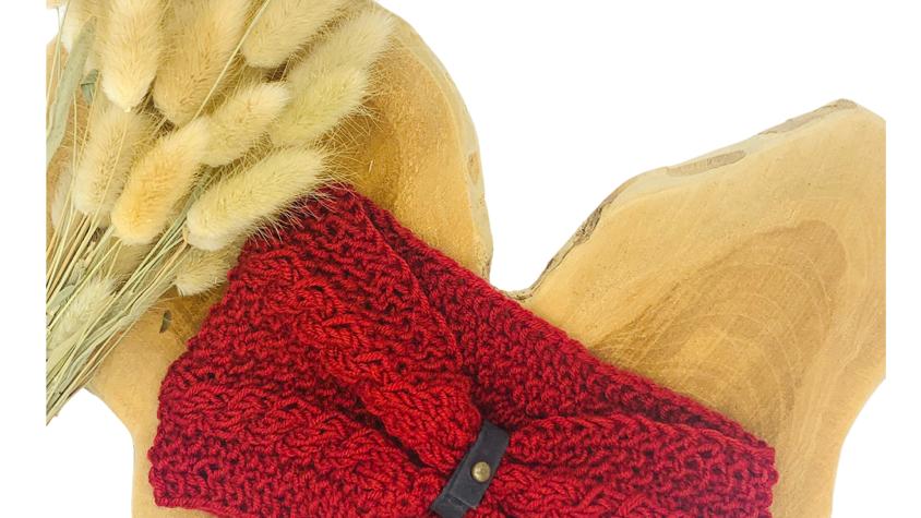 Stirnband Wolle Doppelzopf