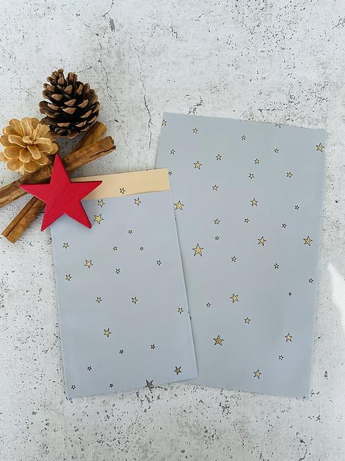Papier Taschen  •Stars gold blau• 10 Stk
