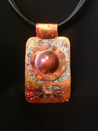 Embellished Copper Pendant