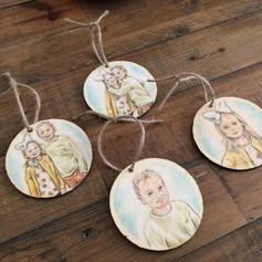 Custom Portraits - Set of 4 Wood Coasters