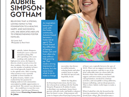 Fostering Connections St. Johns founder Aubrie Simpson-Gotham featured in St. Augustine Social!