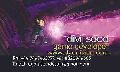 Divij Sood Game Designer Developer Business Card