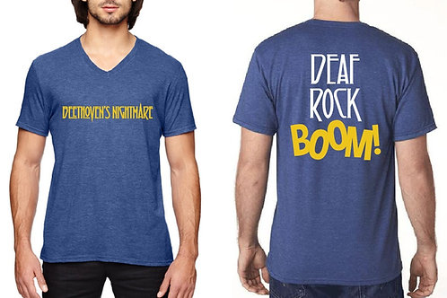 Deaf Rock Boom Blue Fitted T-Shirt