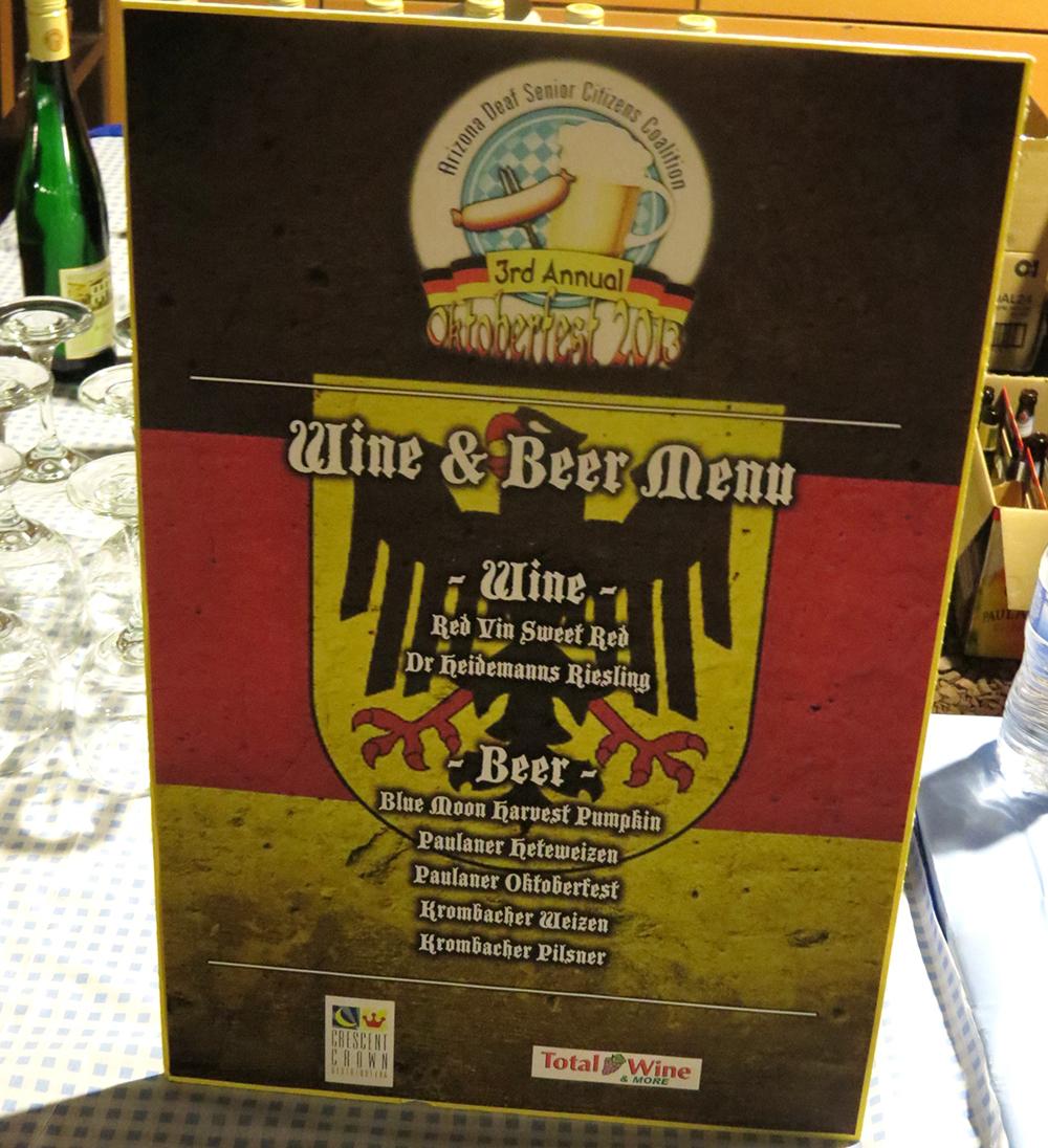 Wine and Beer Menu Sign