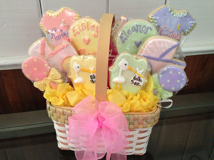 Stork Cookie Bouquet for new baby